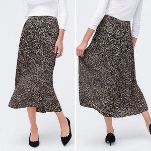 J. Crew Leopard Print Pleated Midi Skirt